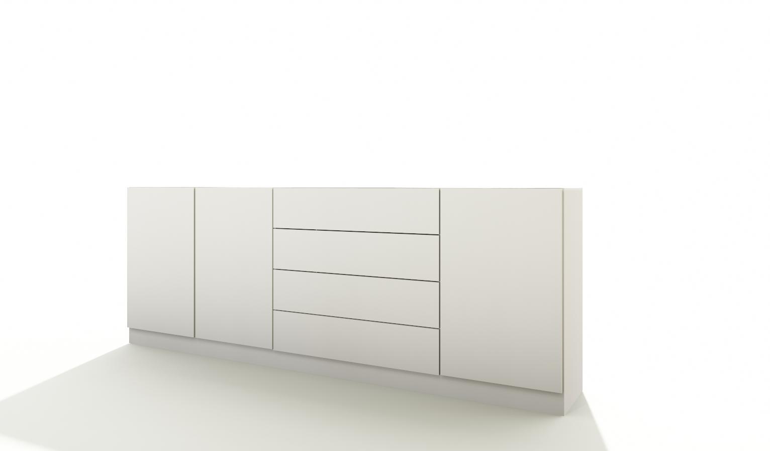 kommode v2 sideboard schrank anrichte push to open wei hochglanz matt 79cm ebay. Black Bedroom Furniture Sets. Home Design Ideas